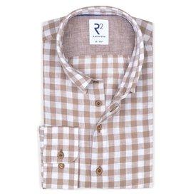 R2 Beige checkered linen/cotton shirt.
