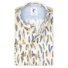 R2 Multicolour surfboard linen shirt.