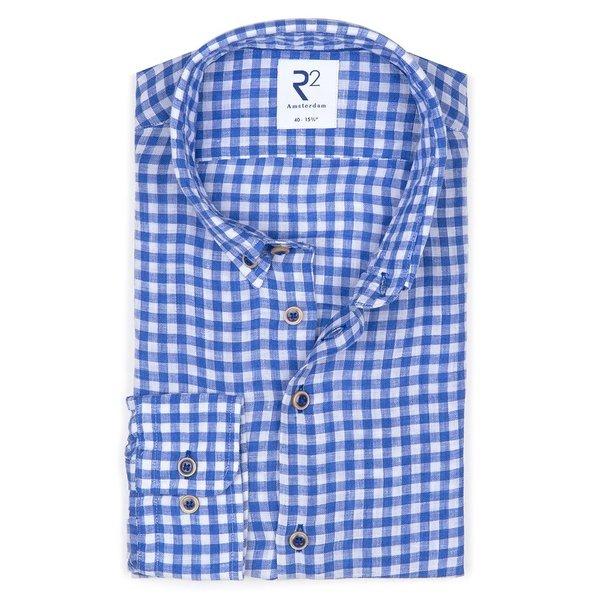R2 Blauw geruit linnen overhemd.
