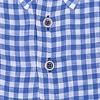 Blauw geruit linnen overhemd.