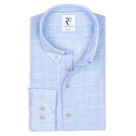 R2 Light blue checkered linen shirt.