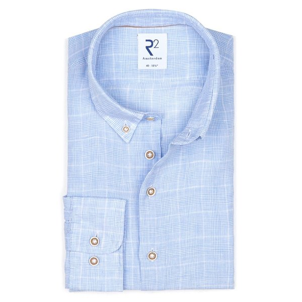 R2 Lichtblauw geruit linnen overhemd.