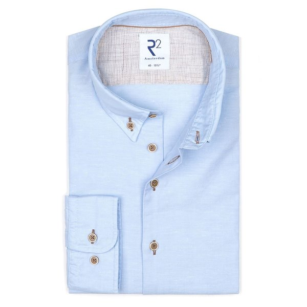 R2 Lichtblauw linnen/katoenen overhemd.