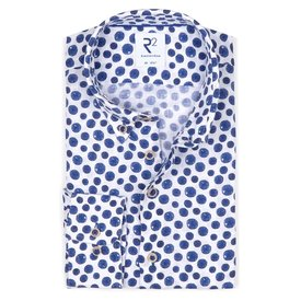R2 Blauw stippenprint linnen overhemd.