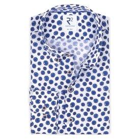 R2 Blue polka dot print linen shirt.