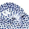 Blauw stippenprint linnen overhemd.