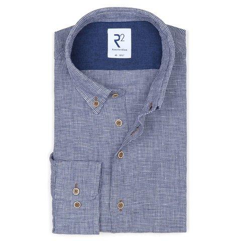 Donkerblauw pied de poule linnen overhemd.