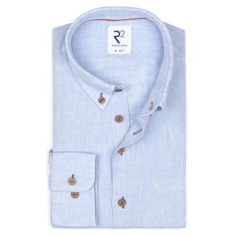 Light blue linen shirt.