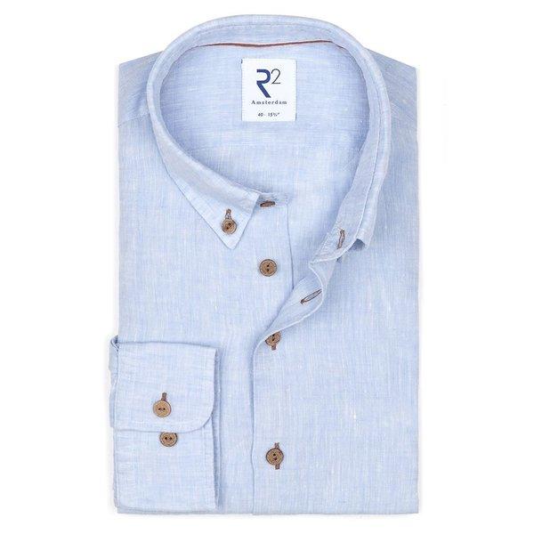 R2 Lichtblauw linnen overhemd.