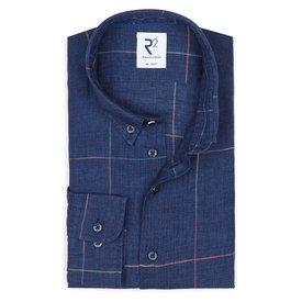 R2 Donkerblauw geruit linnen/katoenen overhemd.