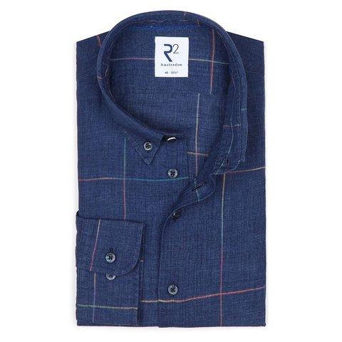 Donkerblauw geruit linnen/katoenen overhemd.