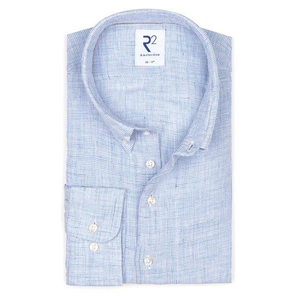R2 Lichtblauw pied de poule linnen overhemd.