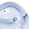 Lichtblauw pied de poule linnen overhemd.