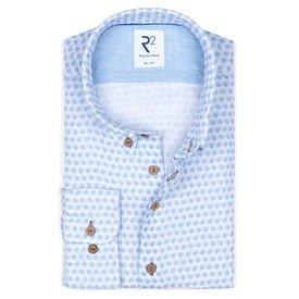 R2 Lichtblauw bloemenprint linnen overhemd.