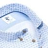 Lichtblauw bloemenprint linnen overhemd.