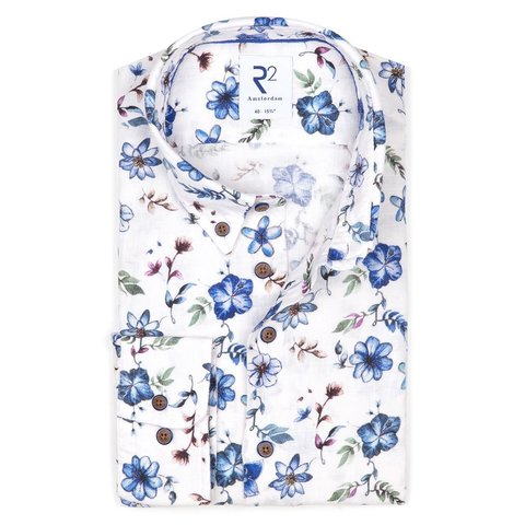 Multicolour bloemenprint linnen overhemd.