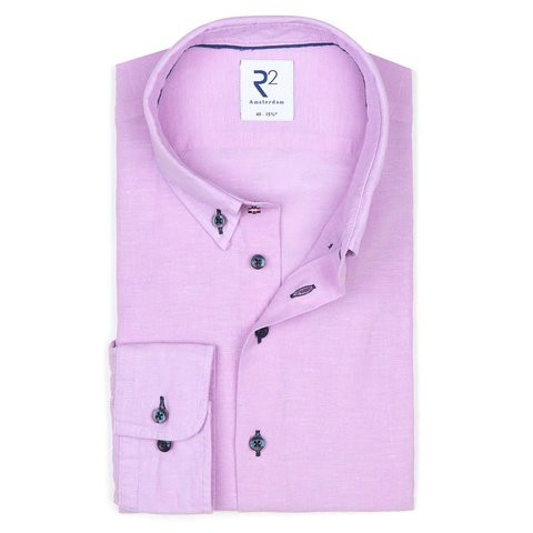 Roze linnen/katoenen overhemd.