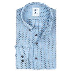 R2 Blauw geborduurde linnen overhemd.