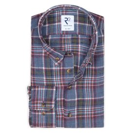 R2 Multicolour checkered linen shirt.