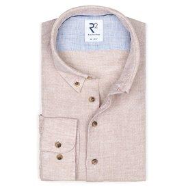 R2 Beige dobby linen shirt.
