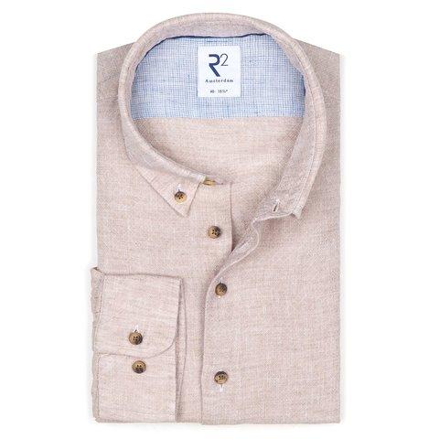 Beigefarbenes Dobby-Leinenhemd.