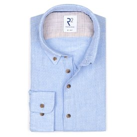 R2 Light blue dobby linen shirt.