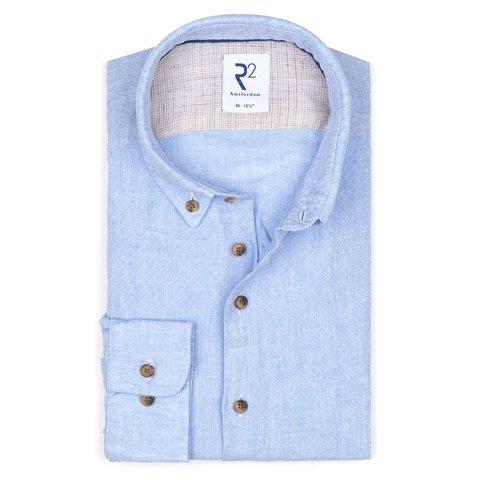 Lichtblauw dobby linnen overhemd.