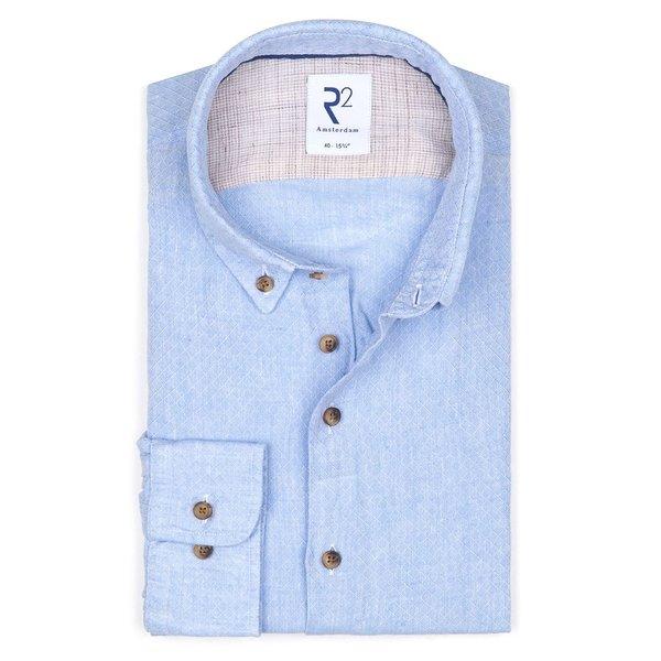R2 Lichtblauw dobby linnen overhemd.