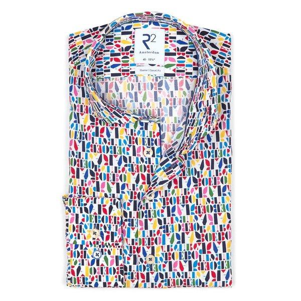 R2 Multicolour letterprint katoenen overhemd.