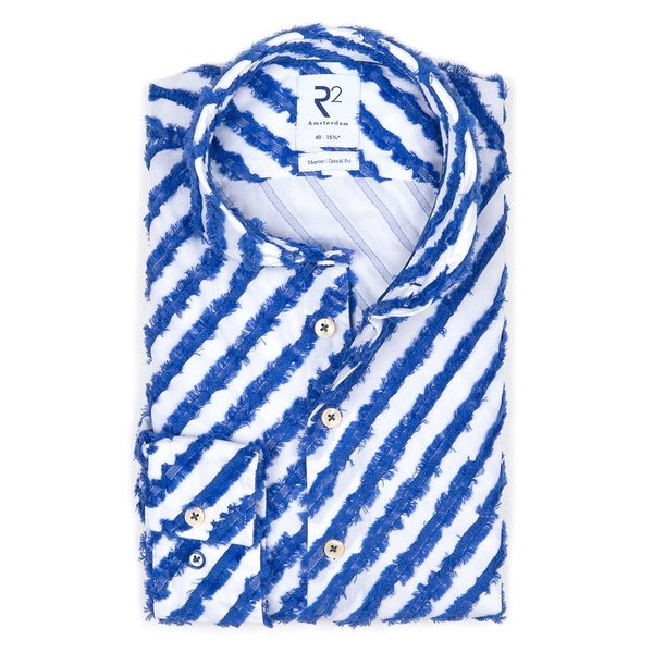 R2 Blauw gestreept jacquard katoenen overhemd.