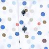 Extra lange mouwen. Multicolour stippenprint organic katoenen overhemd.