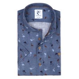 R2 Kurzärmeliges blauem Flamingo-Print Leinenhemd.