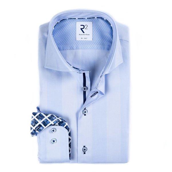 R2 Lichtblauw Herringbone 2 PLY katoenen overhemd.