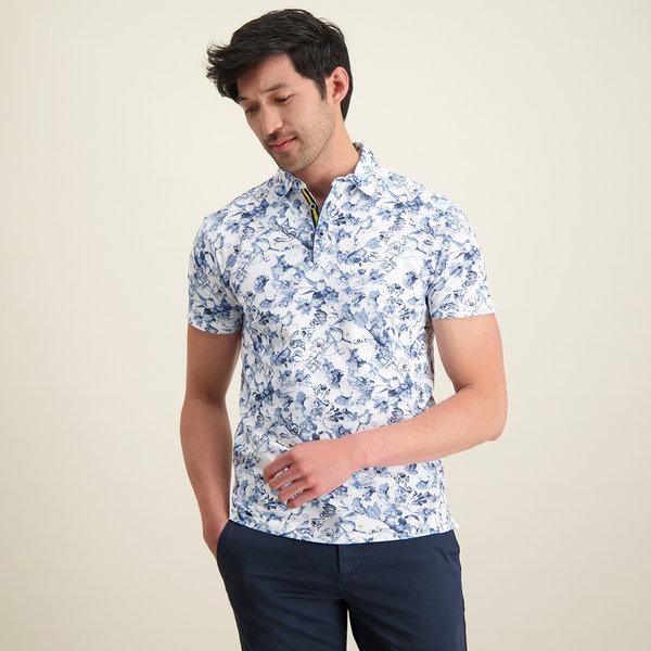 R2 White flower print polo shirt.