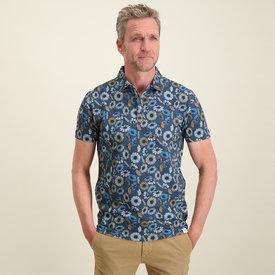 R2 Navy blue flower print polo shirt.