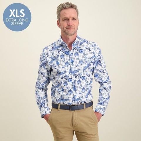 Extra Lange Mouwen. Wit Hollandse print katoenen overhemd.