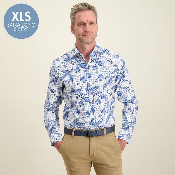 R2 Extra Lange Mouwen. Wit Hollandse print katoenen overhemd.