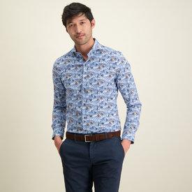 R2 Blue cycling print cotton shirt.