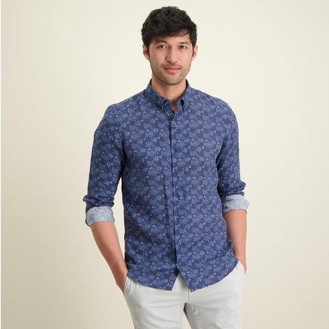 Blauw bloemenprint linnen overhemd.