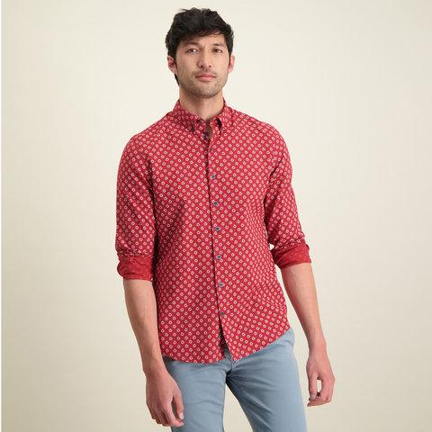 Rotes geblümtes Leinen-/Baumwollhemd.