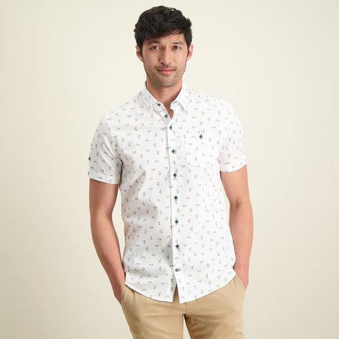 Korte mouwen wit Phatfour fietsprint organic cotton overhemd.