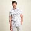 Short sleeves white floral print cotton shirt.