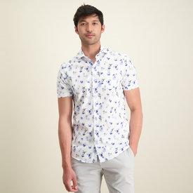 R2 Short sleeves white floral print cotton shirt.