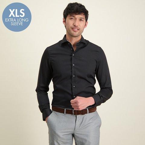 Extra Long Sleeves. Black cotton shirt.