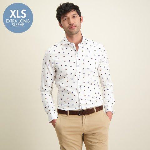 Extra Lange Mouwen. Stippenprint katoenen overhemd.