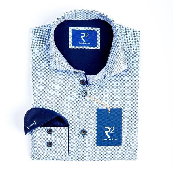 R2 Kids wit grafische print katoenen overhemd.