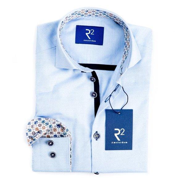 R2 Kids lichtblauw mouliné katoenen overhemd.