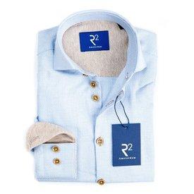 R2 Kids light blue mini-print mouliné shirt.