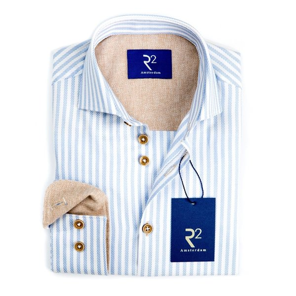 R2 Kids blauw gestreept oxford katoenen overhemd.