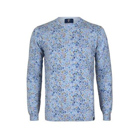 Hellblauer Baumwollpullover mit Kreisaufdruck.
